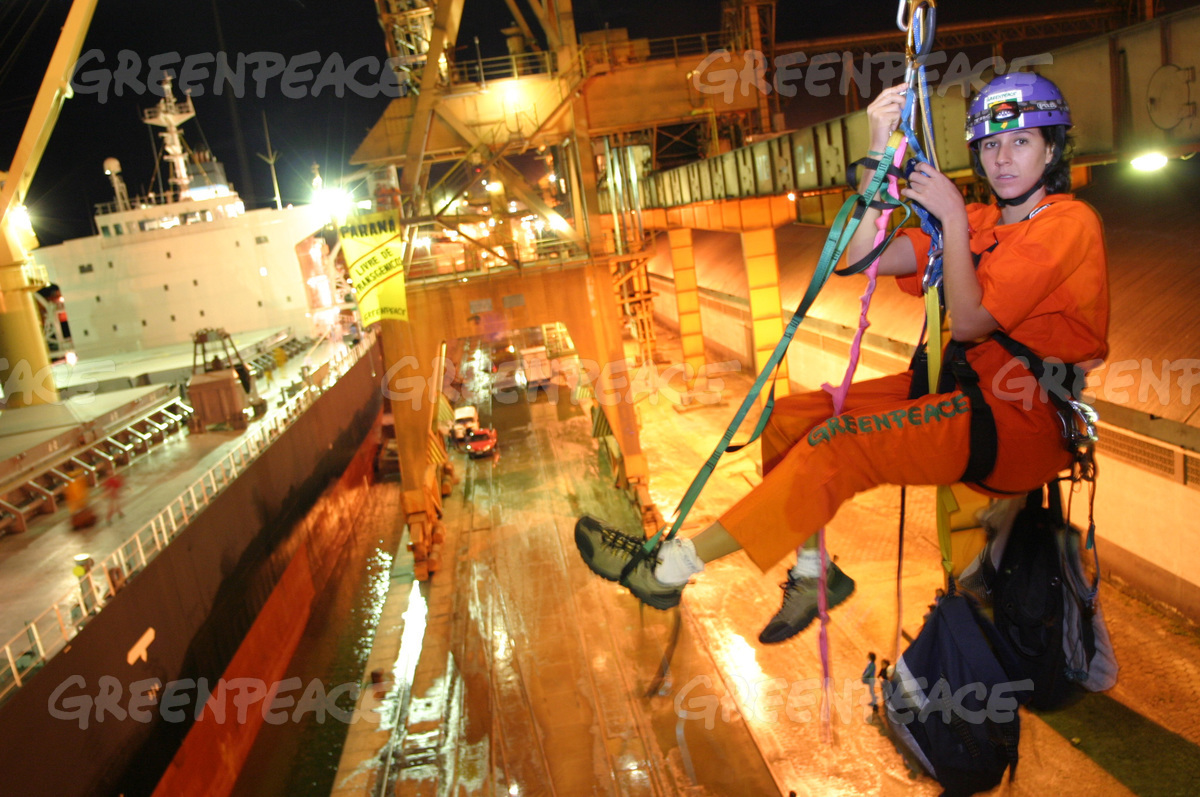 Greenpeace Activists on the Cargo Ship 'Global Wind' in Paranagua
