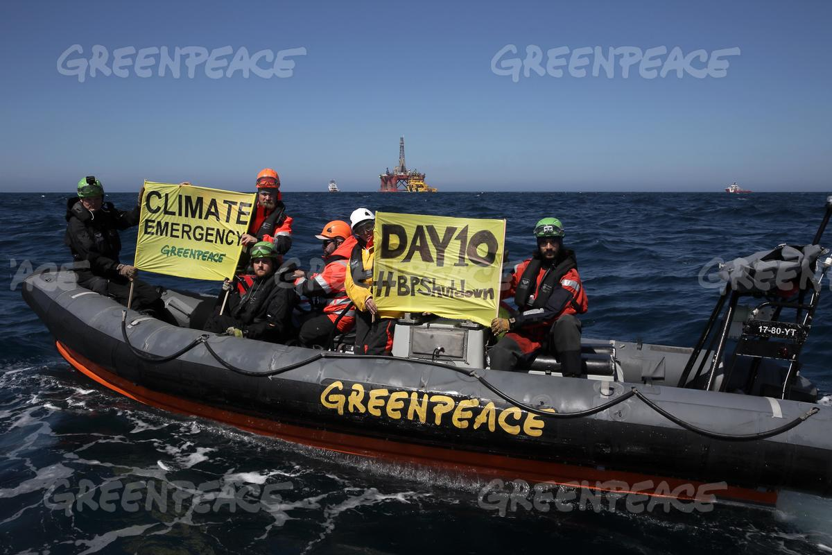 BP Oil Rig Protest Banner in the North Sea - Day 10