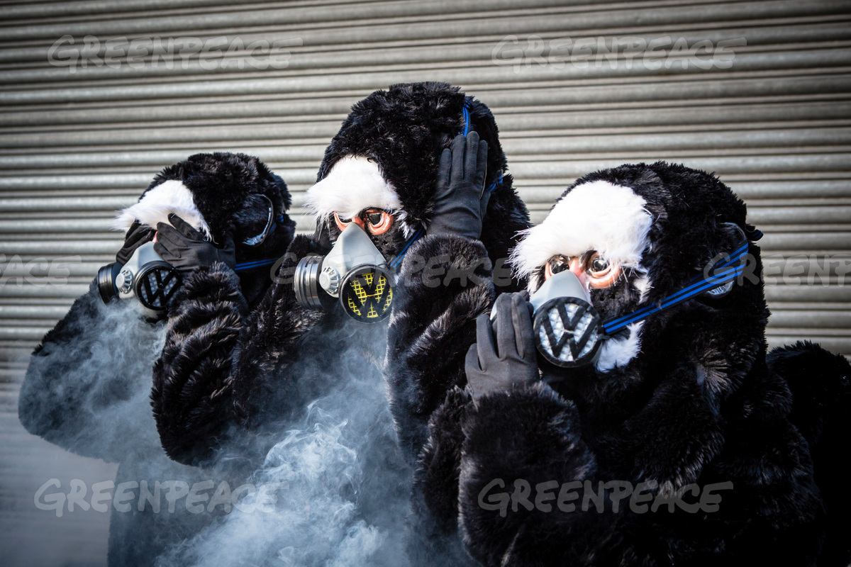 Activists with Monkey Costumes and VW Air Pollution Masks in London