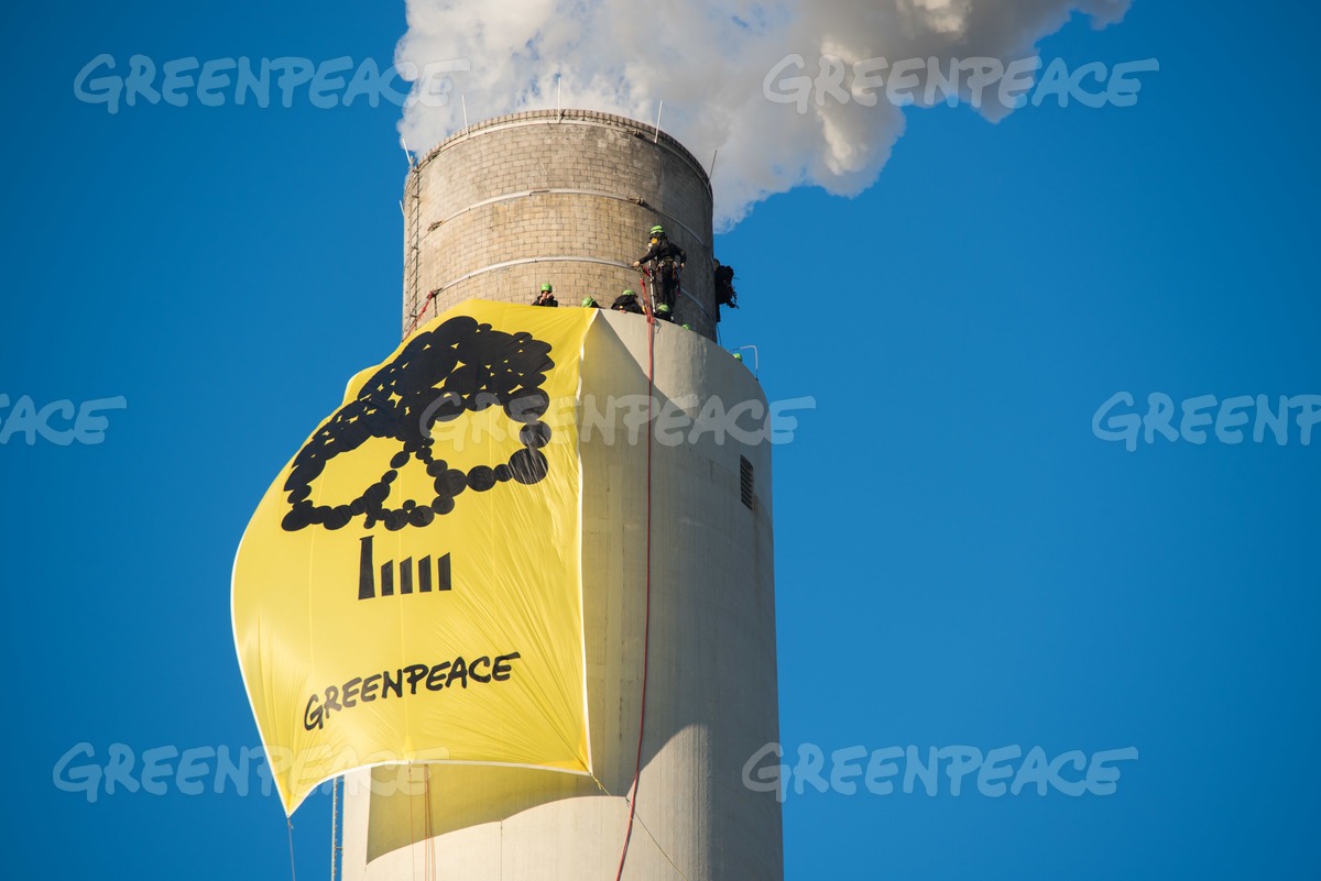 Coal Banner at Oldest Coal Power Station in Germany