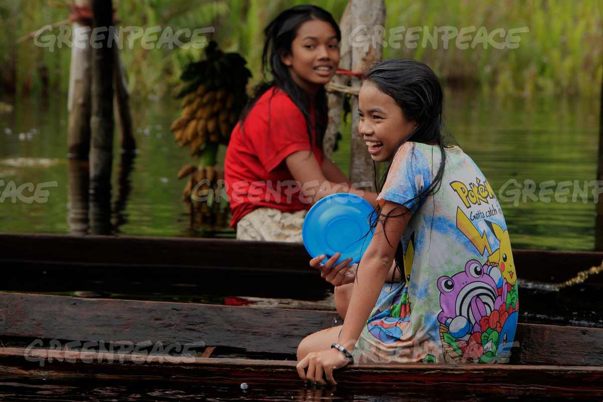 Girls in Indonesian Forest