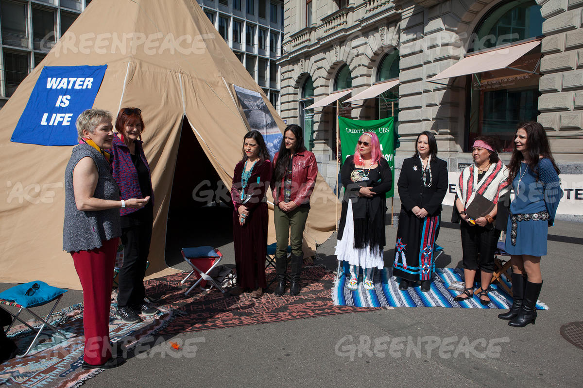 Senior Women for Climate Protection and Indigenous Women from USA & Canada Protest in Zurich