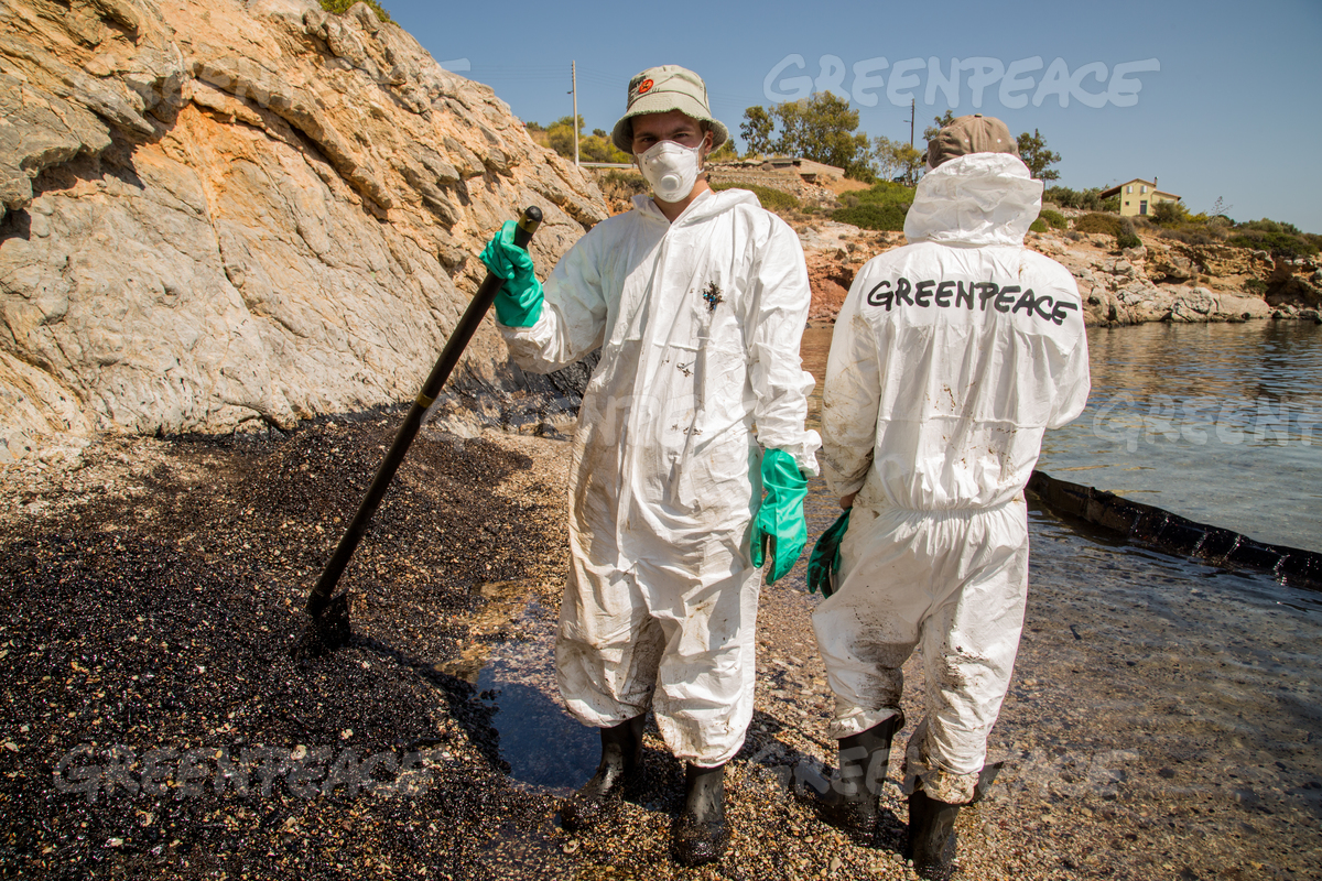 Clean up Action after Environmental Disaster on the Island of Salamis