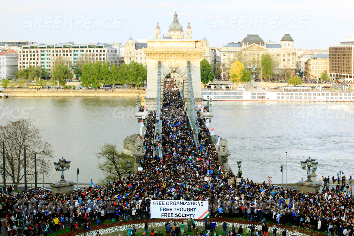 Protest for Free Society in Budapest, Hungary