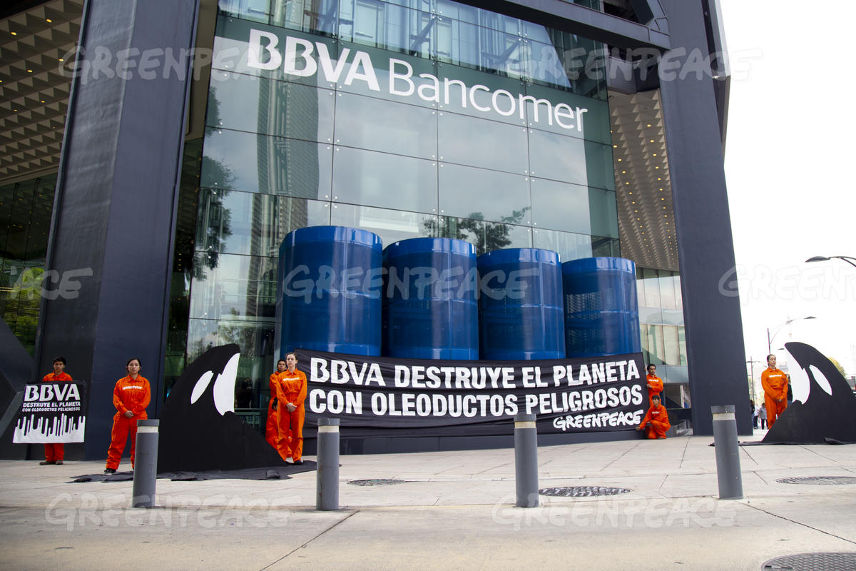 Protest at BBVA Bank in Mexico City