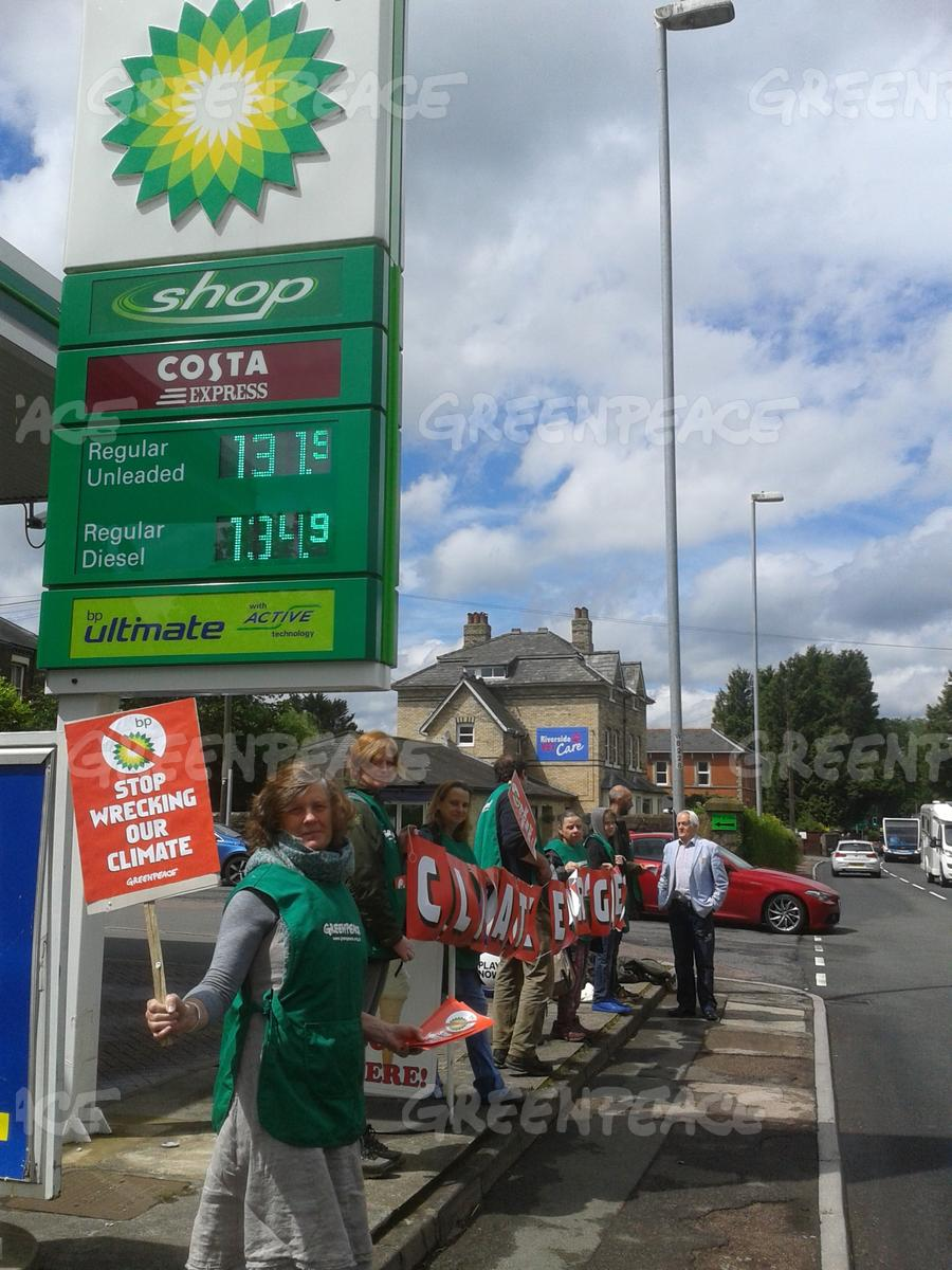 Volunteers in Hay on Wye Protest outside a BP Petrol Station