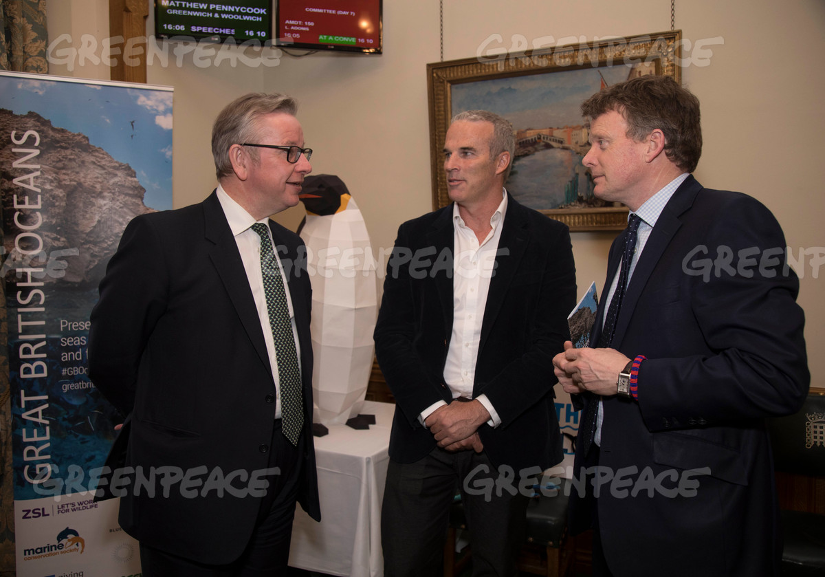 Michael Gove, Lewis Pugh and Richard Benyon at the Blue Belt Charter Parliamentary Reception in London