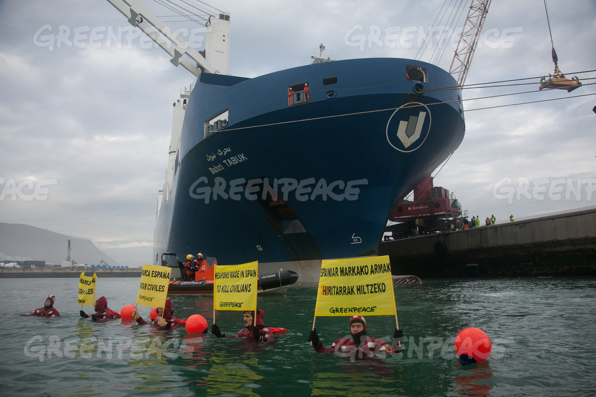 Peace Action in Port of Bilbao, Spain