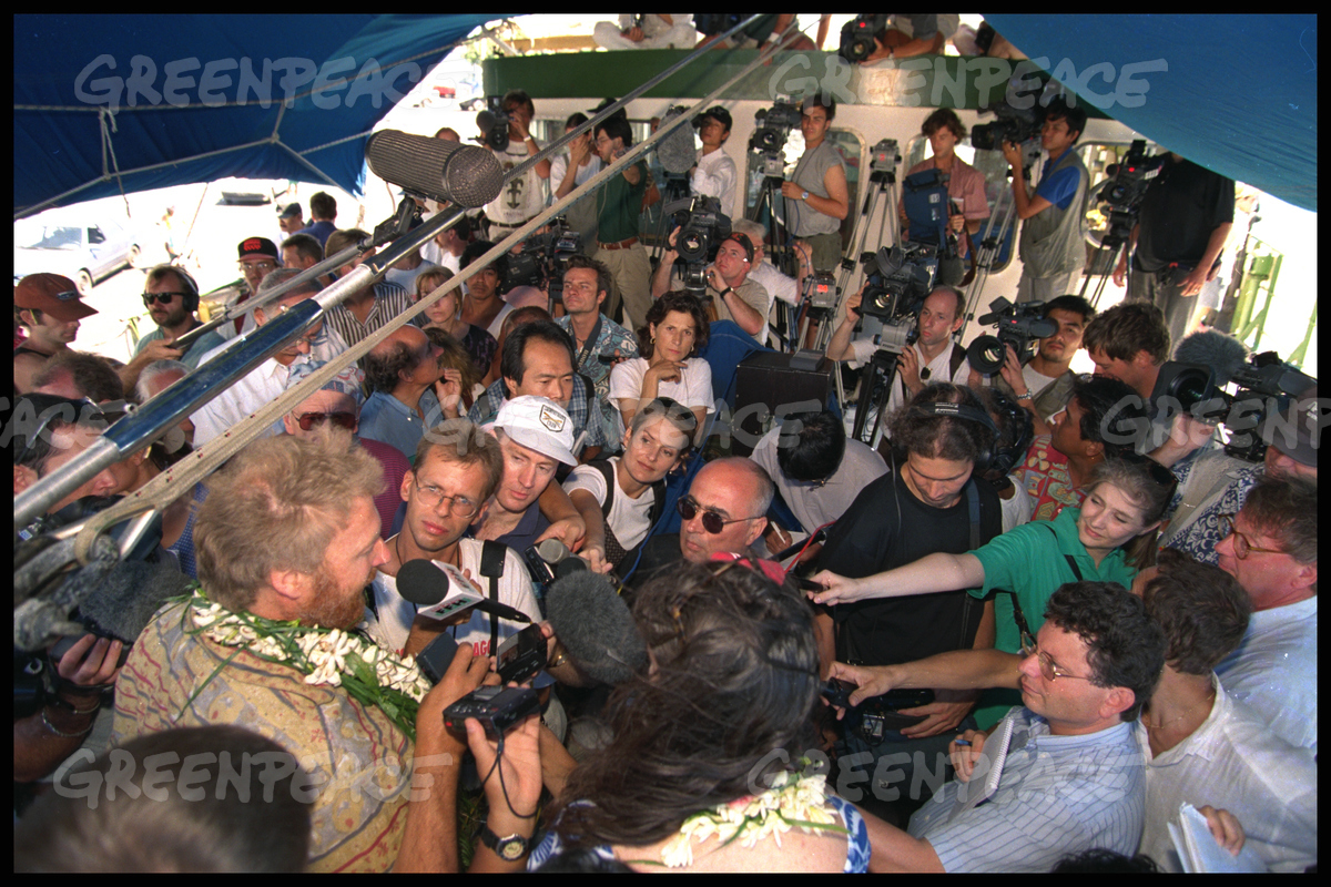 Master of the RAINBOW WARRIOR Jon Castle holds a press conference aboard the Warrior in Tahiti, en route to Moruroa to protest against French nuclear testing at the atoll. South Pacific.