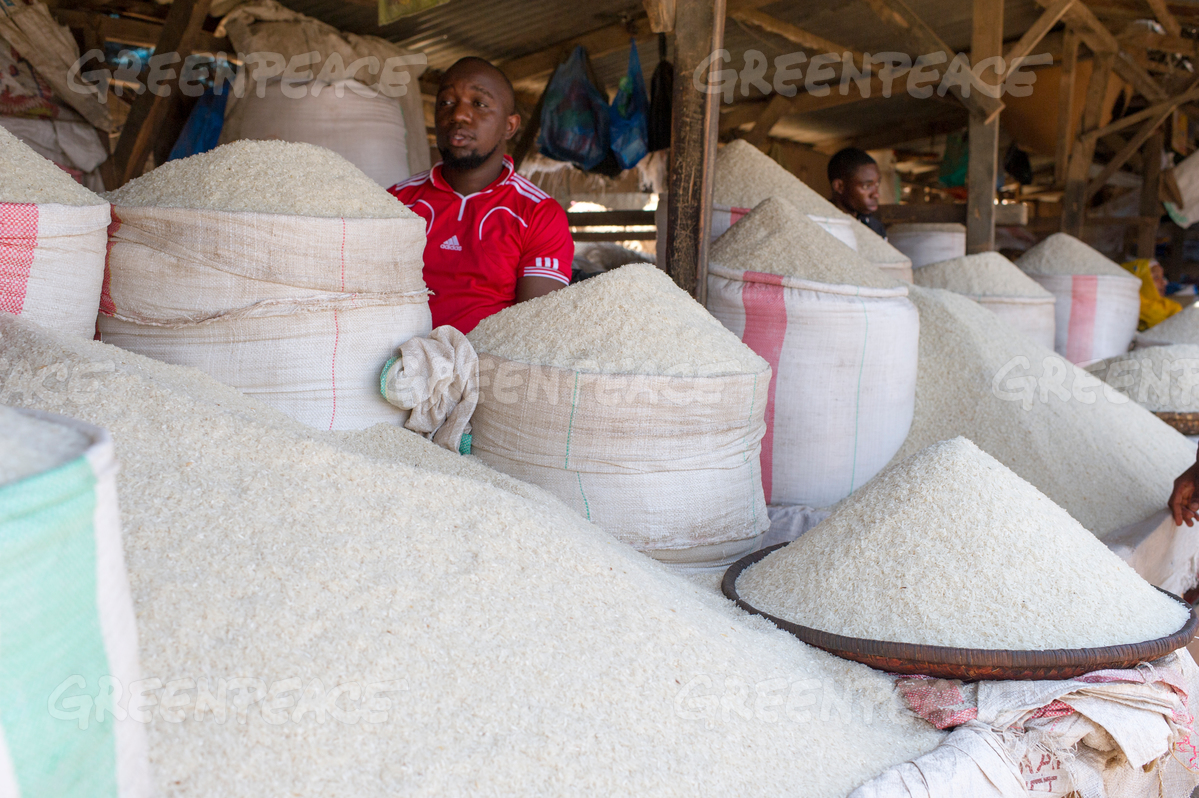 Rice for Sale at the Morogoro Market in Tanzania