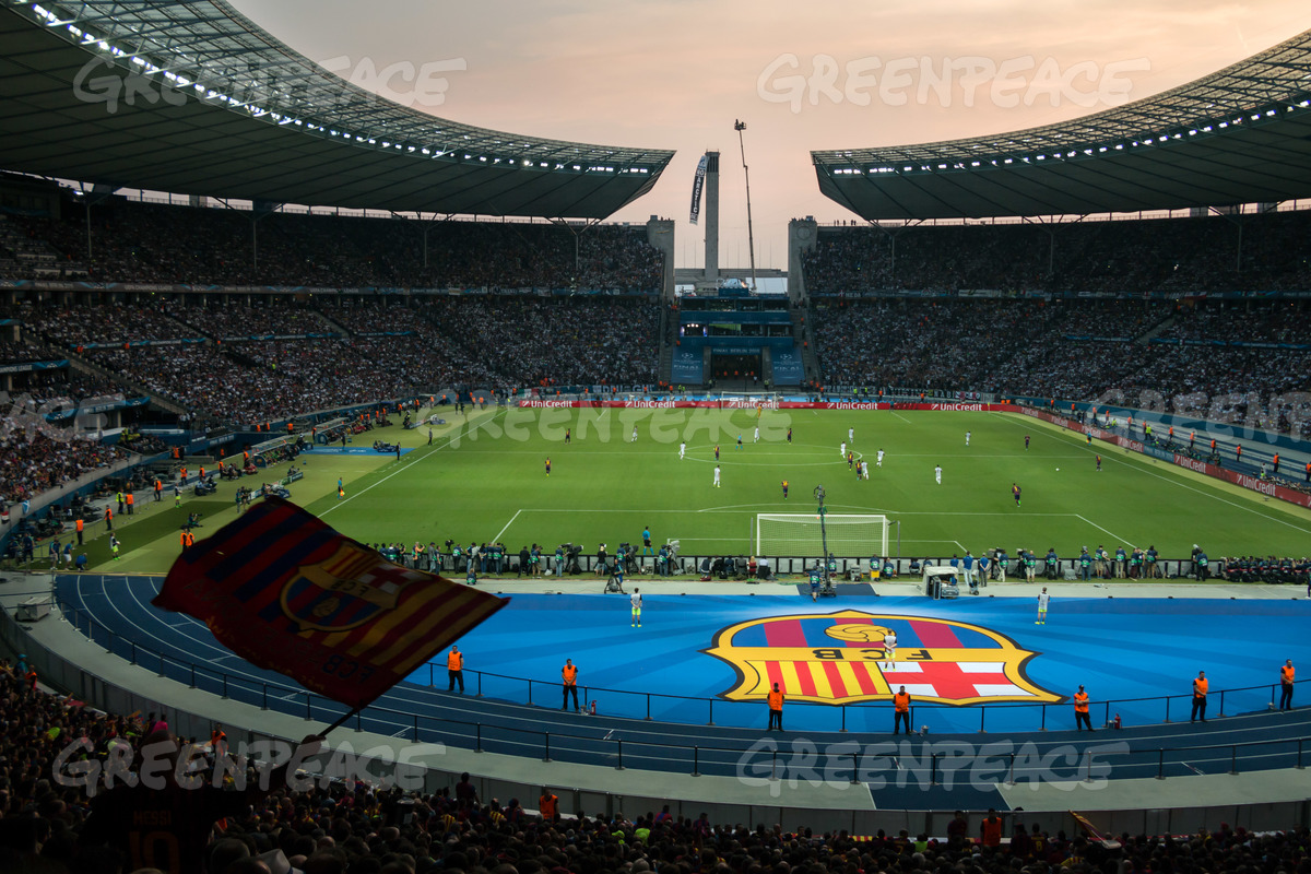 Gazprom Banner at the Champions League Final in Berlin