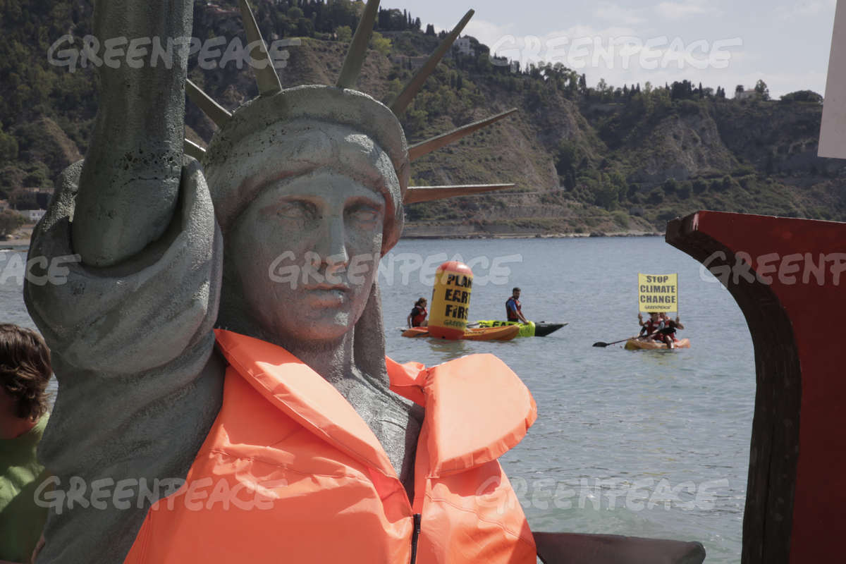 Statue of Liberty Climate Action at G7 Summit in Italy