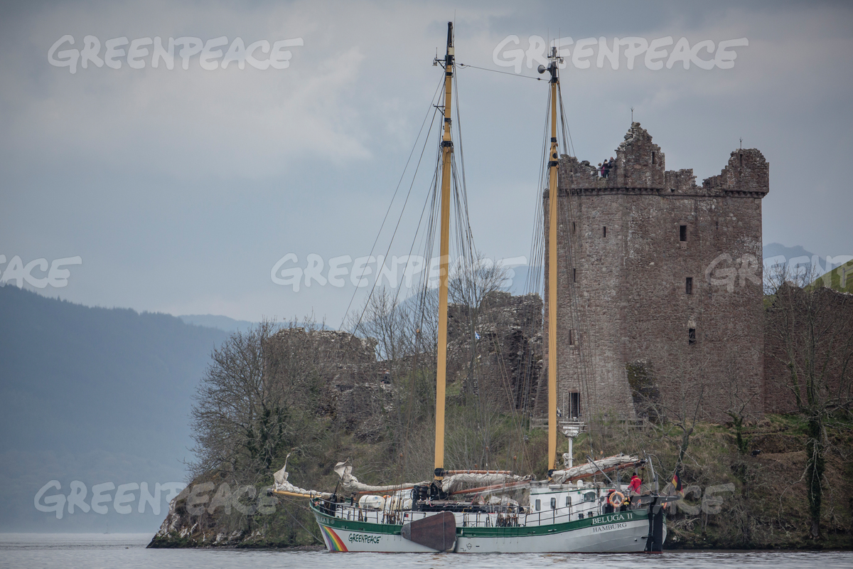 MV Beluga and Urquhart Castle Scotland