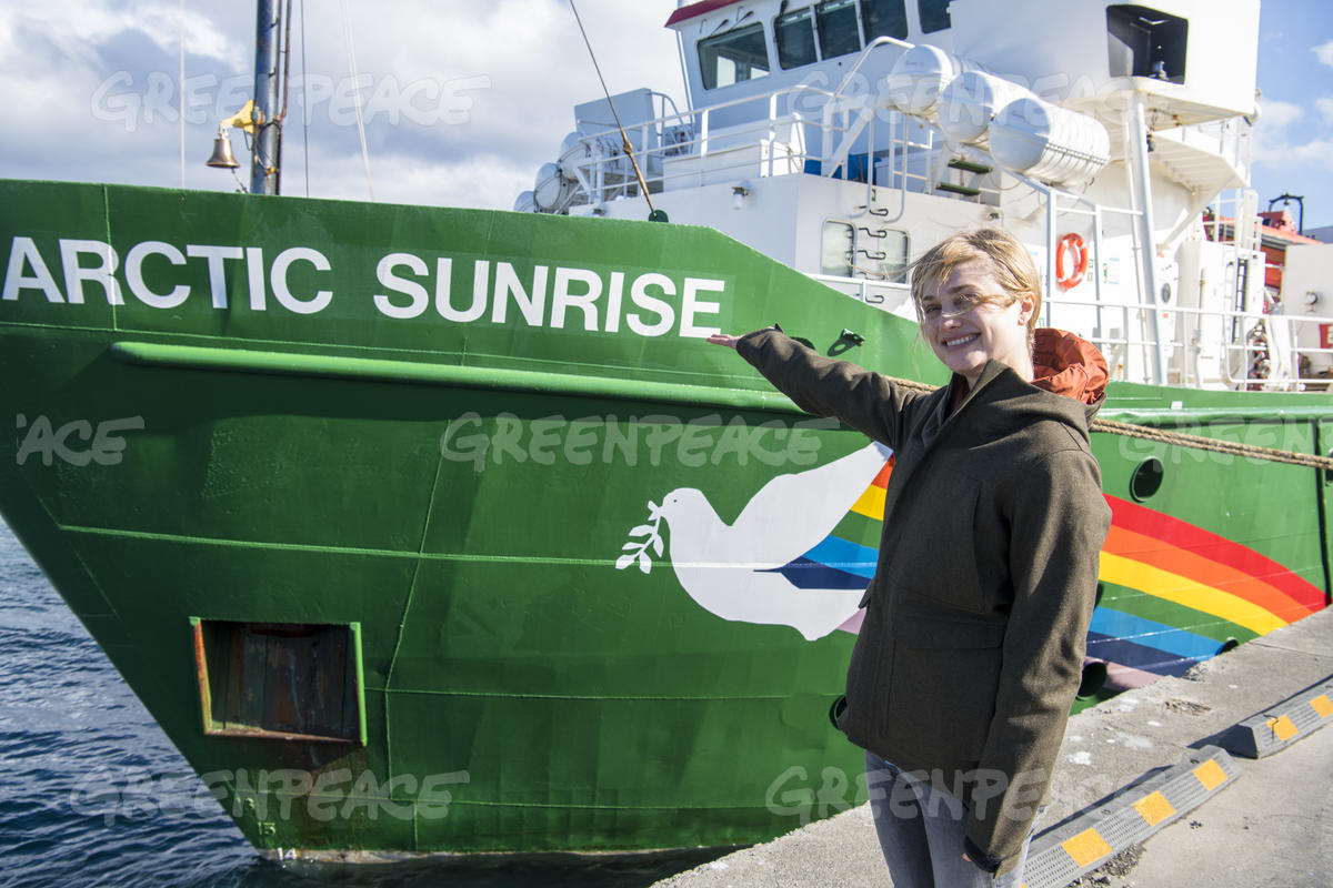 Alison Sudol with Greenpeace