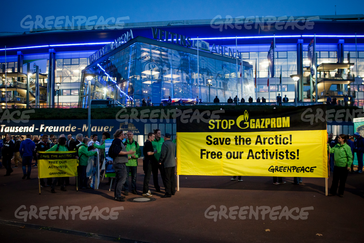 'Free the Arctic 30' Protest at Soccer Club in Gelsenkirchen