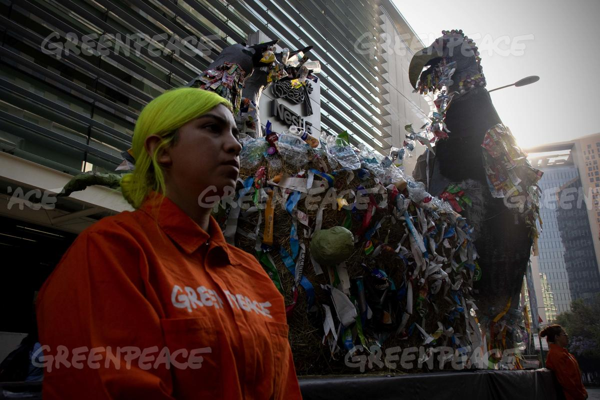 Plastic Monster Action at Nestlé Headquarters in Mexico