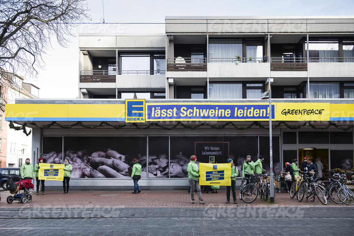 Protest Against Edeka's Meat Policy in Hannover
