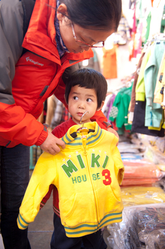 Mother and Child in a Clothing Store in Beijing
