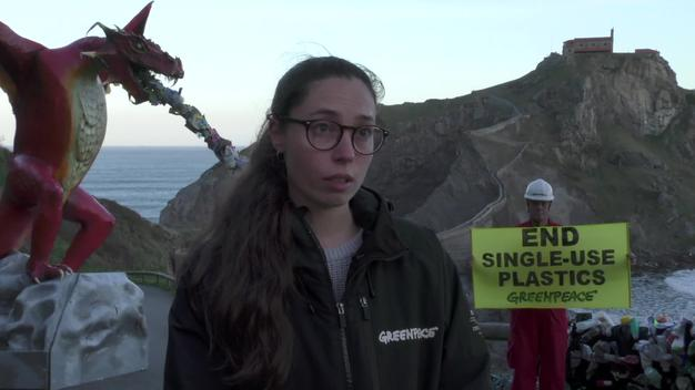 Plastic-Spitting Dragon at San Juan de Gaztelugatxe (SOUNDBITE ENGLISH)