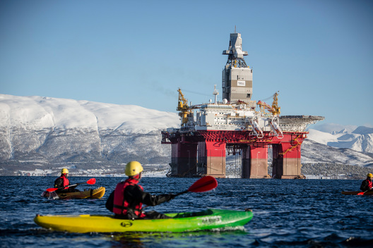 Protest Against Norwegian Oil Rig Bound for the Arctic