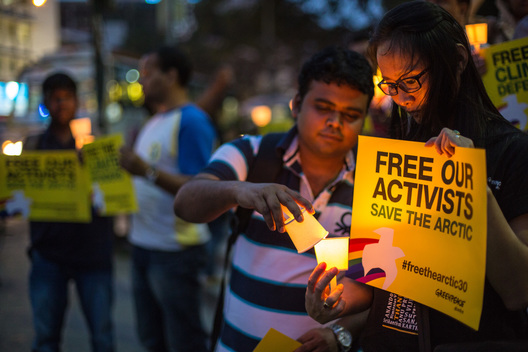 'Arctic 30' Global Day of Solidarity in Bangalore