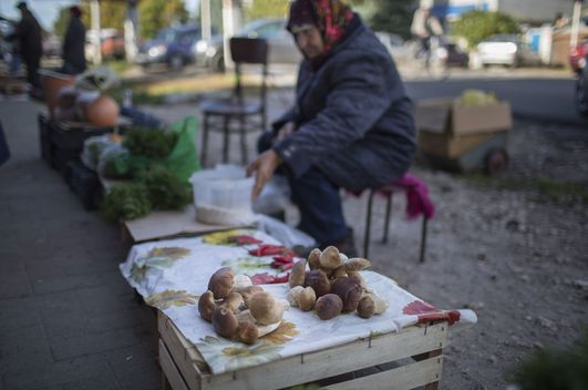 Resident Sells Local Produce in Russian Market