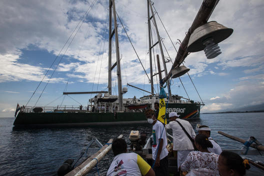 Rainbow Warrior Rejecting Coal Power Plant in Bali