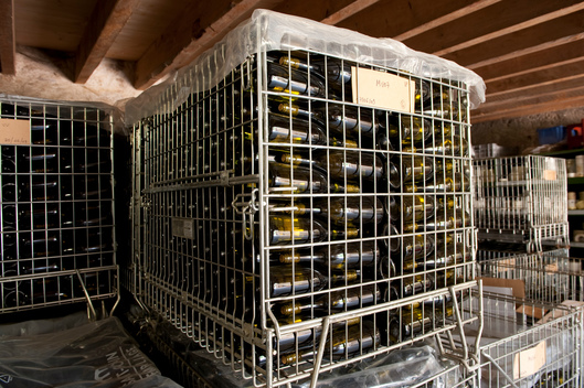 Wine Bottles in a Storage in France