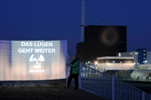 Projection on Nuclear Plant Brunsbuttel