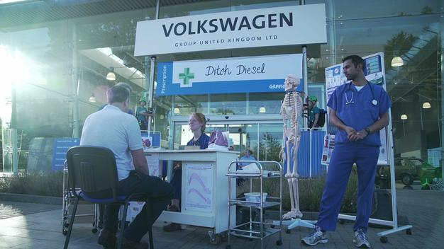 Medical Professional Take Part in Greenpeace Protest against VW in UK