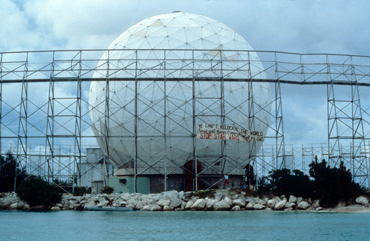 Banner on Kwajalein Radar Dome