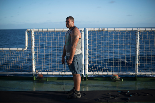 Deckhand on the Esperanza in Pacific Ocean