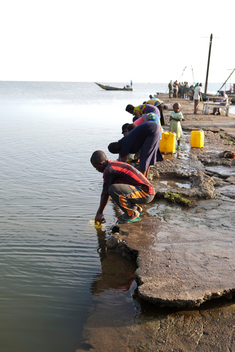 Locals Collect Lake Edward Water in DRC
