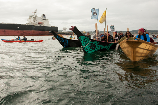 Swinomish Tribal Canoes at Oil Free Salish Sea Protest