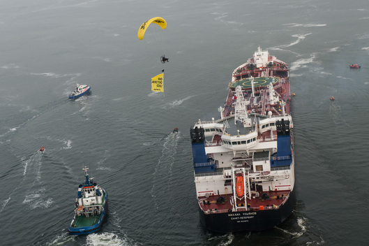 Protest Against Arctic Oil Shipment in Rotterdam