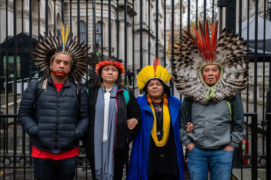 Brazilian Indigenous Leaders Deliver Letter and Petition to Downing St in London