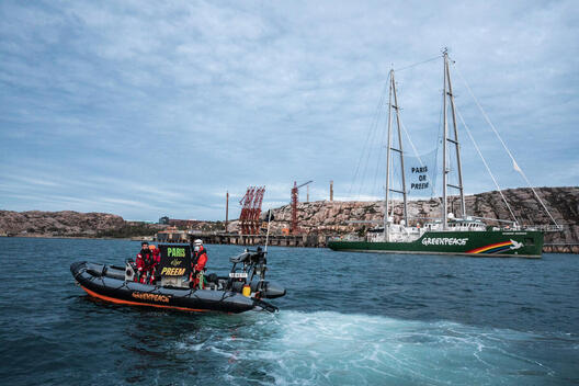 Activists from Greenpeace Nordic blocking crude oil tanker heading to Preem's oil refinery in Lysekil, Sweden