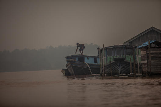 Haze from Forest Fires on Kapuas River in Central Kalimantan