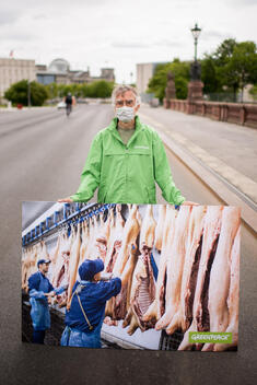 Protest in Berlin against Conditions in Meat Production