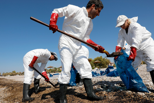 Oil Spill Clean up at the Island of Salamis