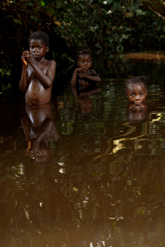 Children Swimming in Congo