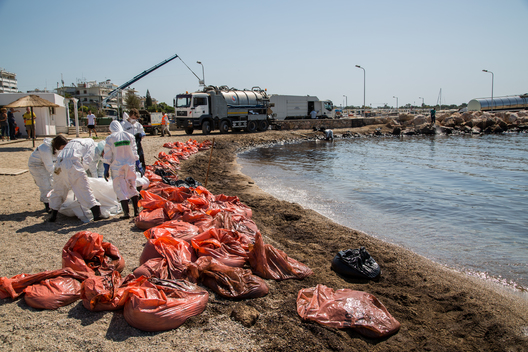 Beach Clean-Up after Oil Spill at Saronic Gulf in Greece