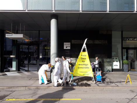 Cleaning Action at Credit Suisse in Basel