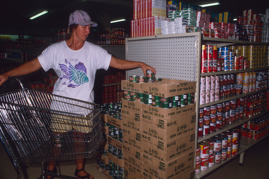 Buying US products in supermarket, American Samoa.