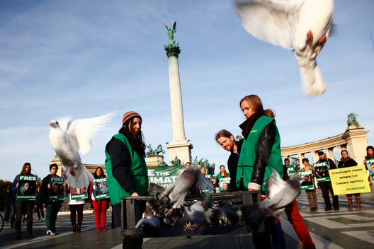 'Arctic 30' Global Day of Solidarity in Budapest