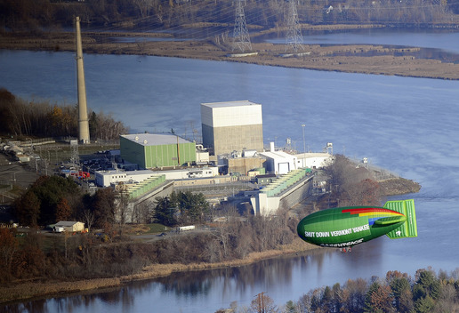 Nuclear Action in Vermont with Yankee Airship Banner