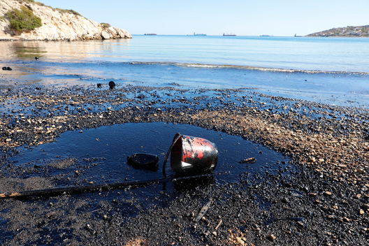 Oil Spill at the Saronic Gulf in Greece
