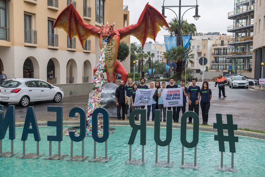 Plastic-Spitting Dragon Protests at Our Oceans Conference in Malta