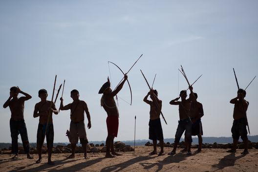 Munduruku Indigenous Men with Bow and Arrow in Pará State, Brazil