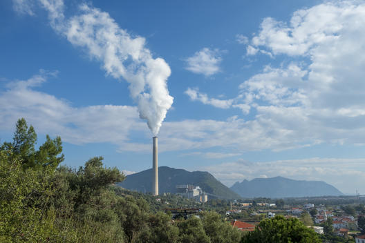 Coal Power Plant Chimney in Turkey